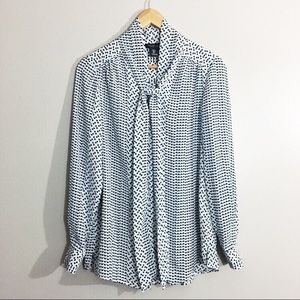 Rachel Zoe Geometric Print Blouse Tie Neck Size S